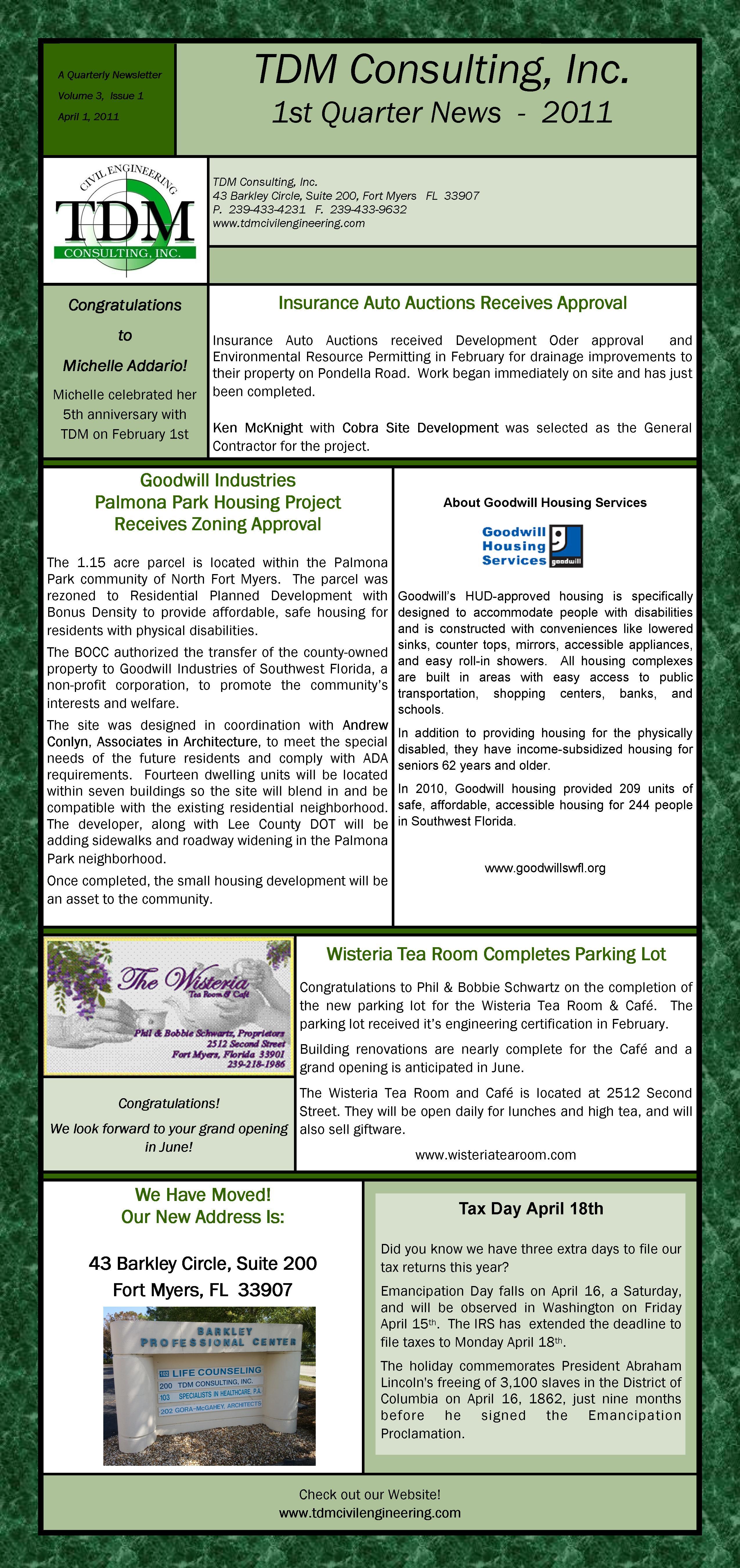 TDM Consulting - Newsletter
